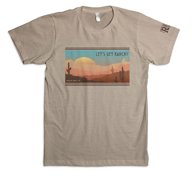 LET'S GET RANCHY (DESERT SUNSET) - SAND TEE