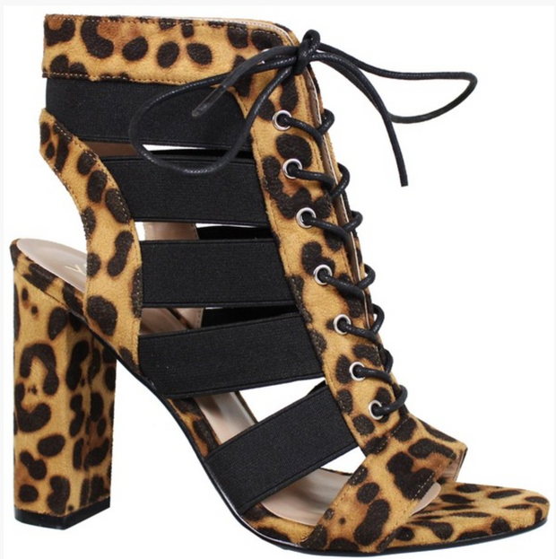 LEOPARD STACKED HEELS