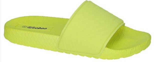 NEON YELLOW SNAKEPRINT SLIDES