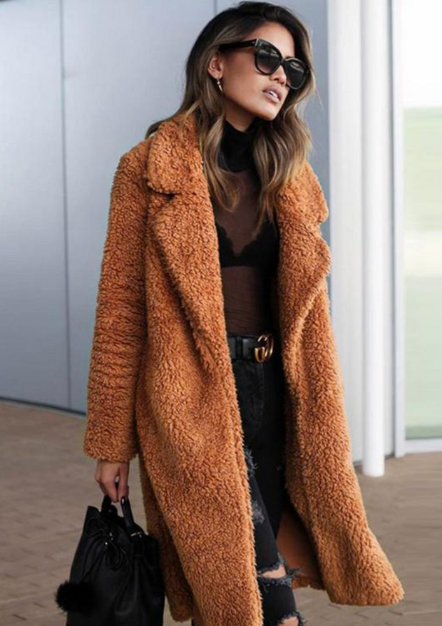 RUST FAUX FUR COAT