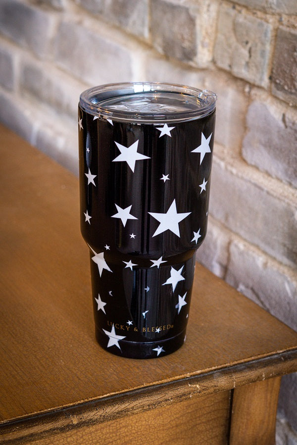 BLACK AND WHITE STAR TUMBLER