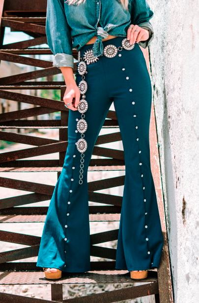 TEAL BLING STUDDED FLARES