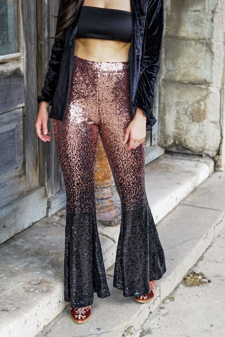 ROSE GOLD & BLACK OMBRE SEQUIN FLARES