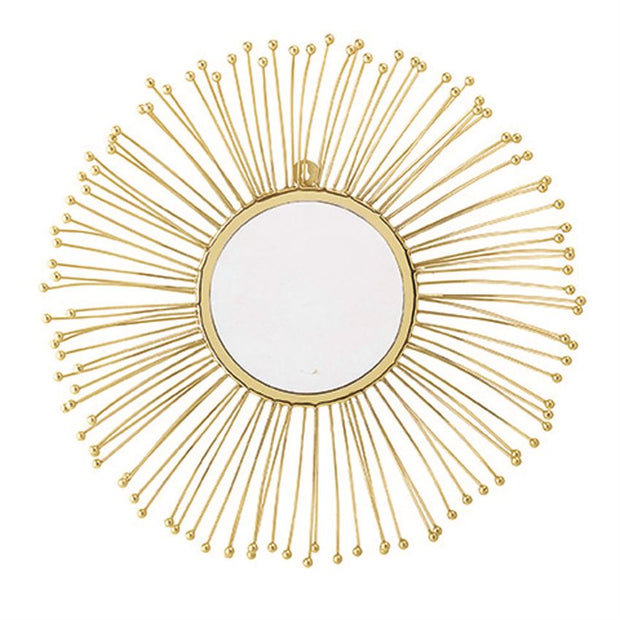 "24"" Round x 5-1/2""W Metal Sunburst Wall Mirror, Gold Finish"