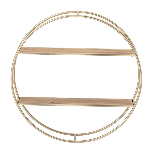 "Gold Finish 23.5"" Round x 4.75""D MDF & Metal Wall Shelf"