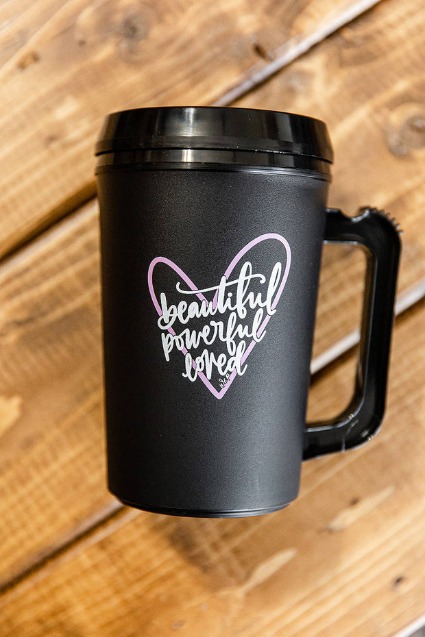 BEAUTIFUL POWERFUL AND LOVED THERMO MUG
