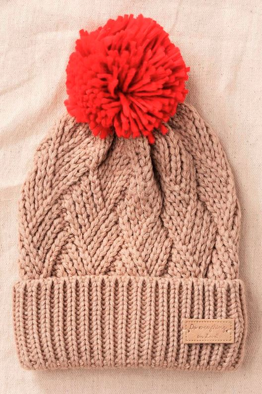TAUPE / RED POM KNIT BEANIE