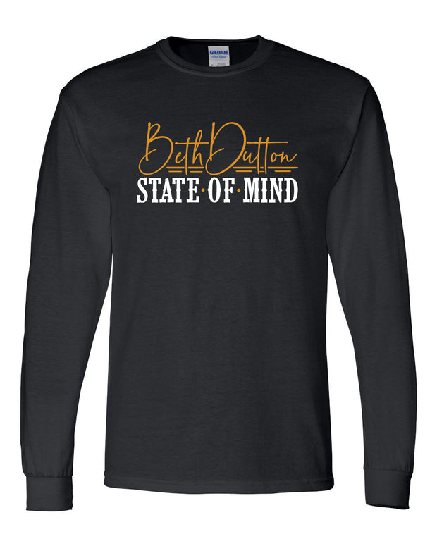 BETH DUTTON STATE OF MIND - BLACK LONG SLEEVE TEE