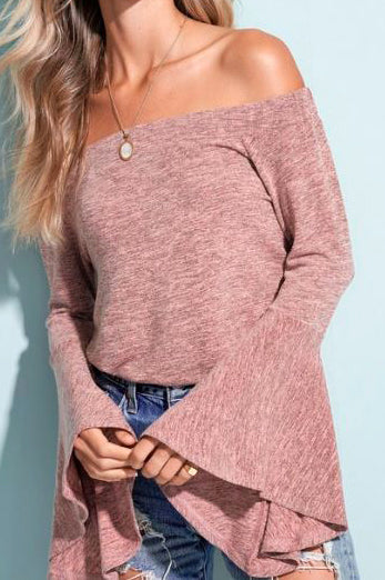 BLUSH BELL SLEEVE SWEATER