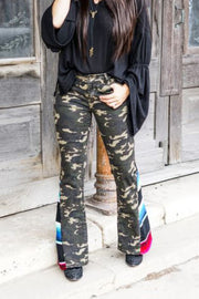 CAMO AND SERAPE FLARE PANTS