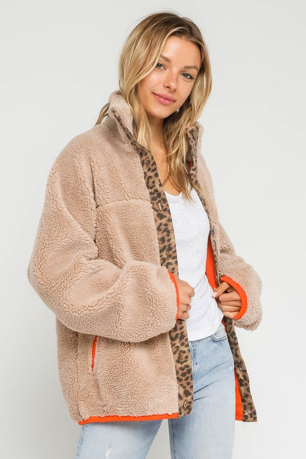 FAUX FUR LEOPARD TRIM JACKET WITH ORANGE DETAIL