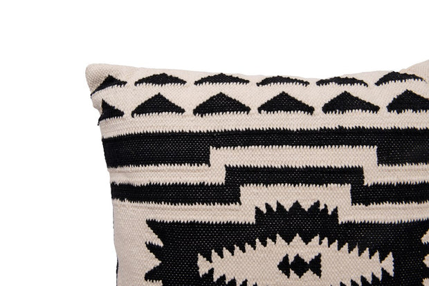 Square Cotton Kilim Pillow, Black & Natural