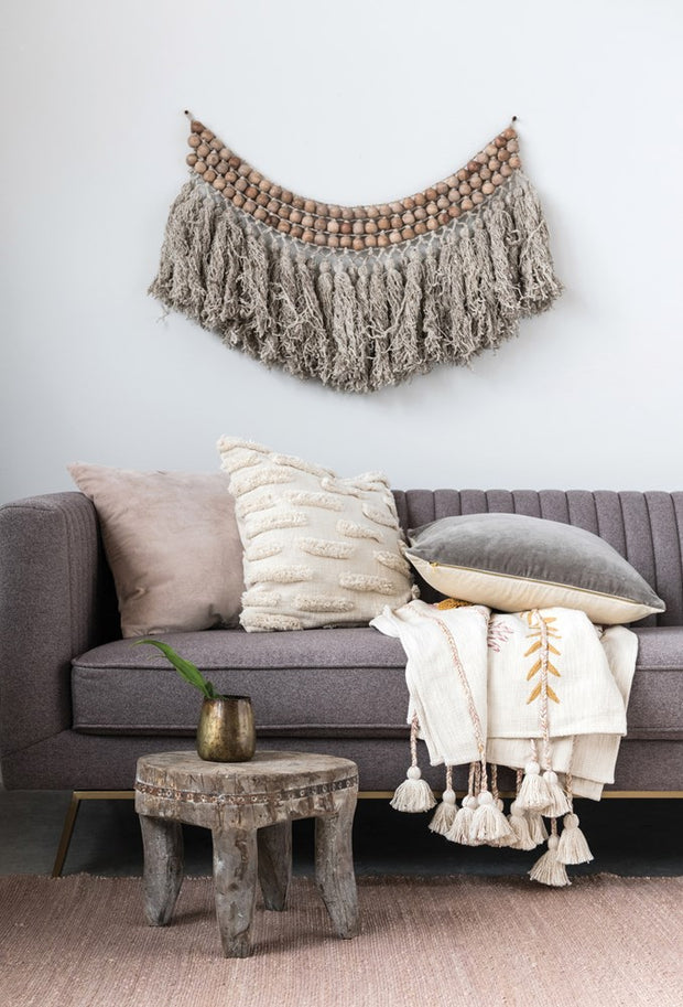 Wood Bead & Wool Wall Hanging w/ Wool Fringe