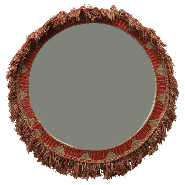 "20"" Round Embroidered Cotton Framed Mirror w/ Fringe Trim, Multi Color"