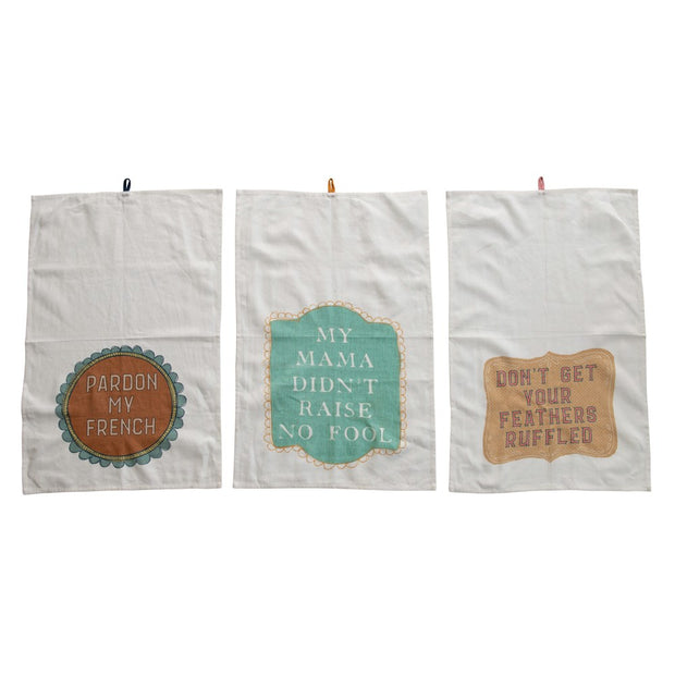 Cotton Tea Towel with Saying, 3 Styles