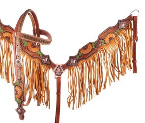 GREEN BROWBAND CACTUS SUNFLOWER FRINGE TACK SET