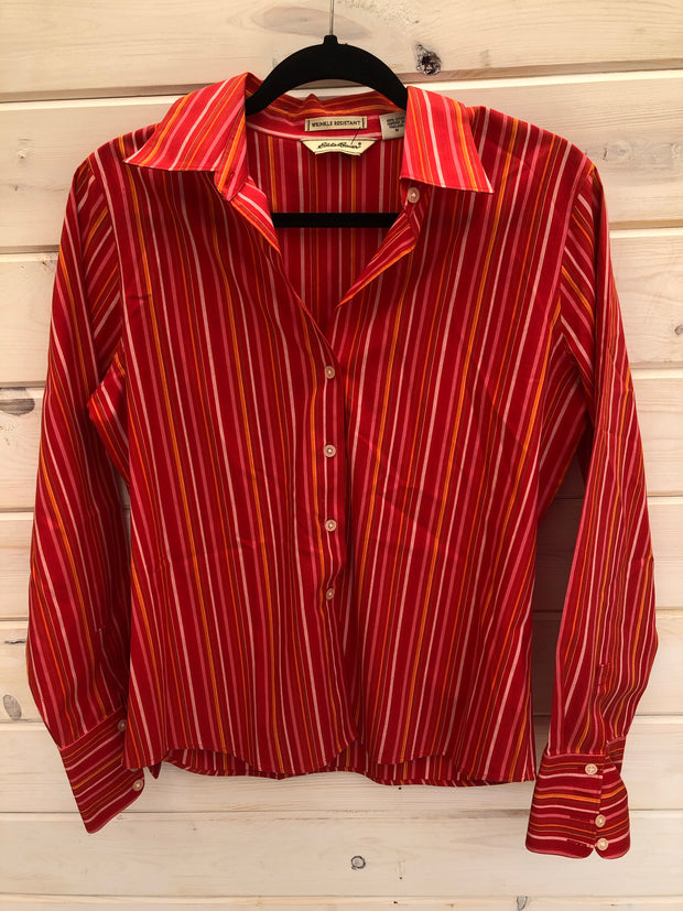 O-1 Red/Orange Striped Button Up Shirt Size M