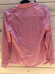 K-8 Pink and White Patterned Button Up Shirt Size 10