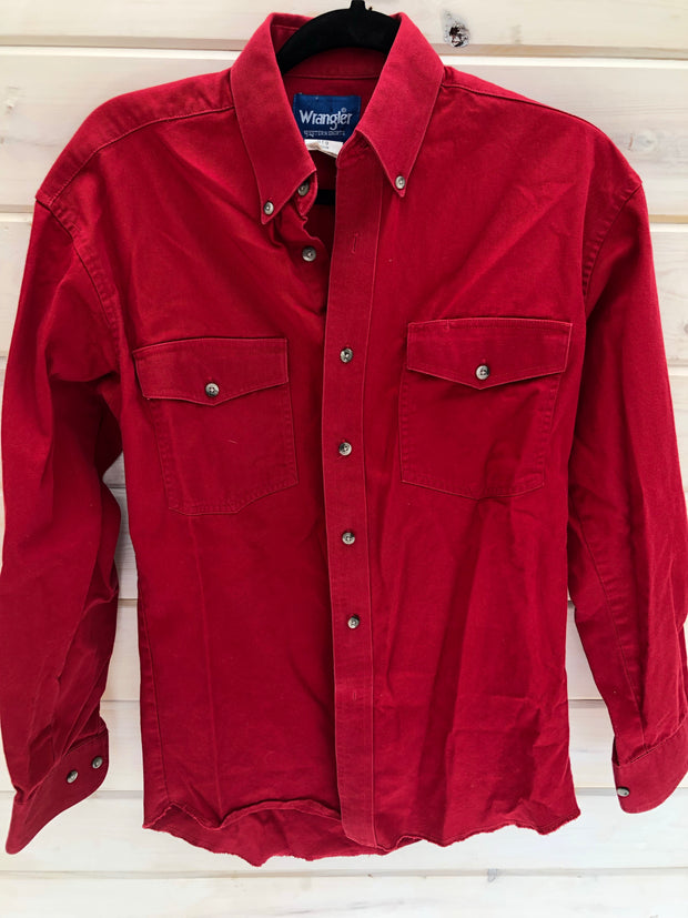 L-8 Red Wrangler Button Up Shirt Size 34x15