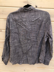 J-5 Ruffled Denim Look Button Up Shirt Size L