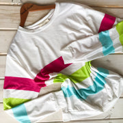 PINK GREEN AND TURQUOISE COLOR BLOCK SWEATSHIRT