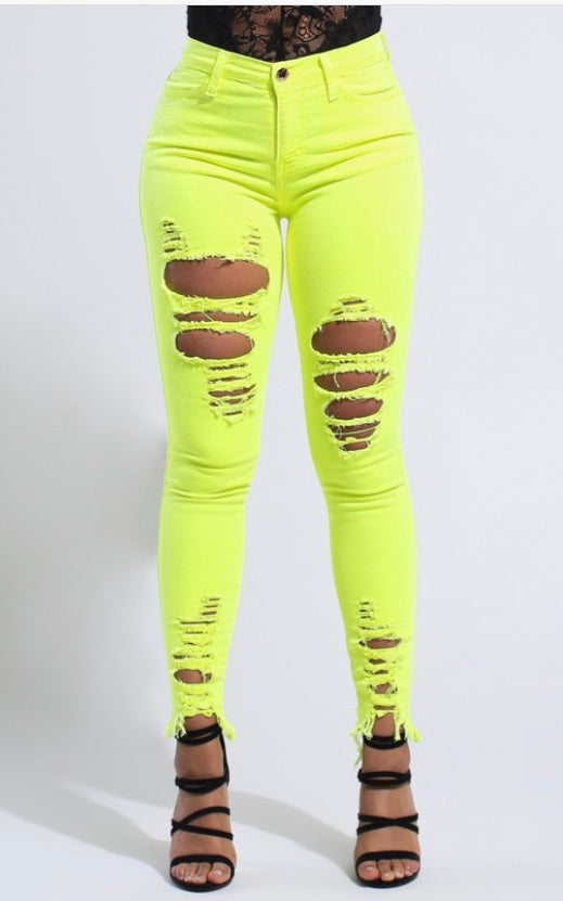YELLOW NEON NIGHTS SKINNIES