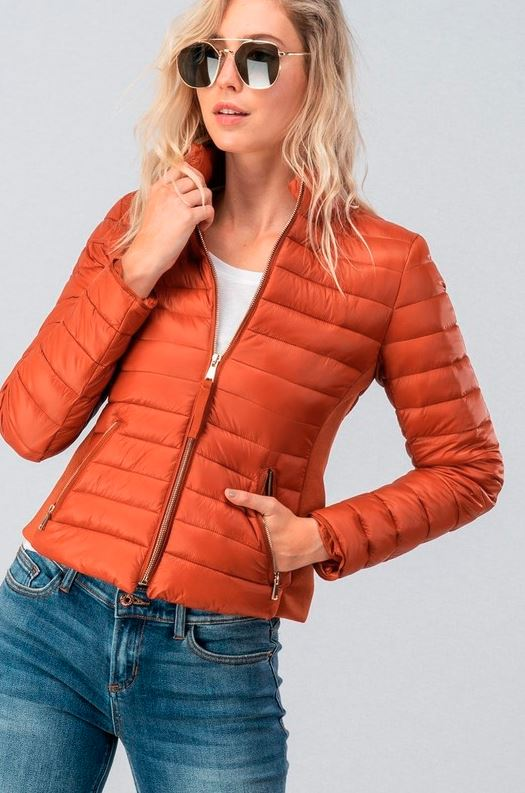 RUST ULTRA LIGHT ZIP UP PUFF JACKET