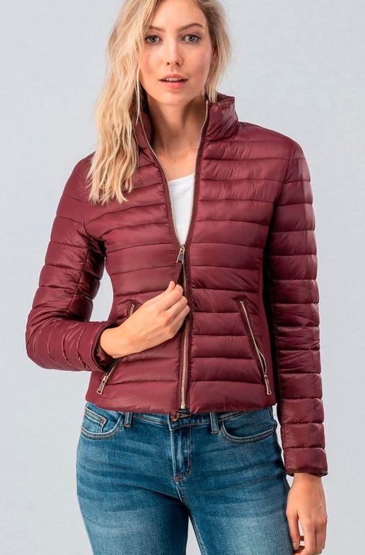 WINE ULTRA LIGHT ZIP UP PUFF JACKET