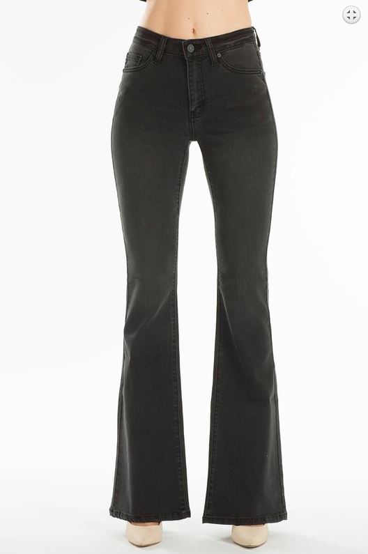 BLACK MID RISE DENIM JEAN
