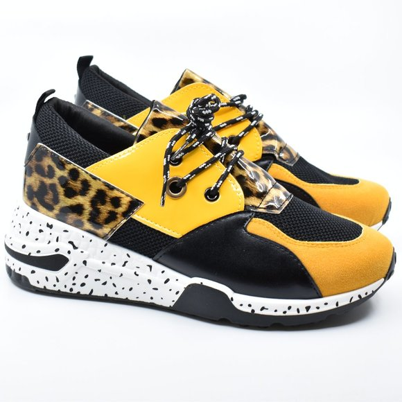 YELLOW / BLACK LEOPARD SNEAKERS