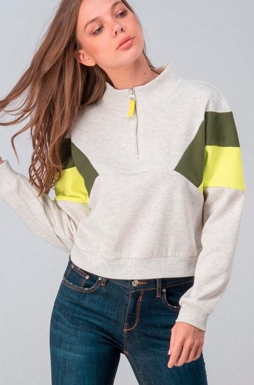 OLIVE AND NEON YELLOW QUARTER ZIP