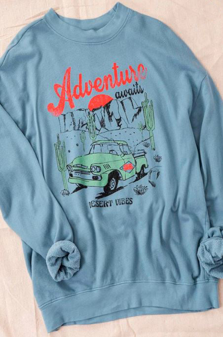 ADVENTURE AWAITS BLUE VINTAGE OVER-SIZED SWEATSHIRT