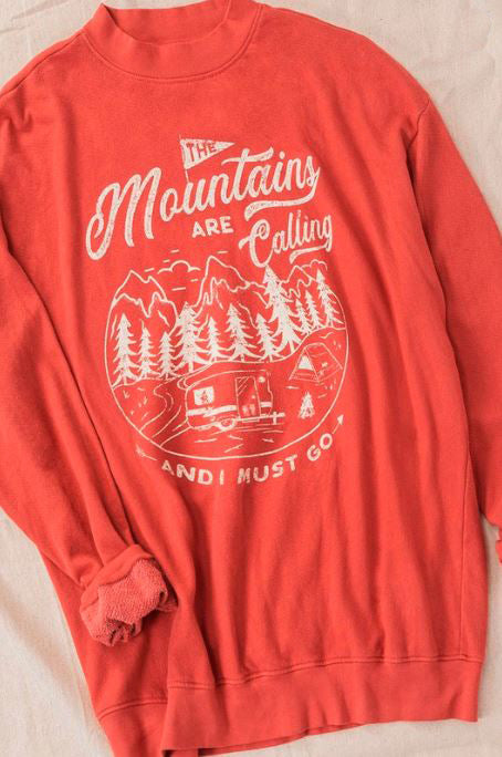 THE MOUNTAINS ARE CALLING RED VINTAGE OVER-SIZED SWEATSHIRT