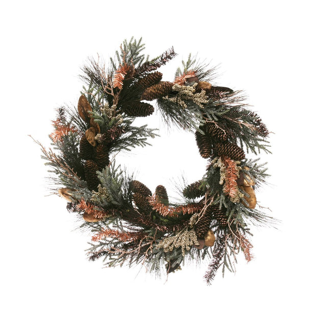 "25-1/2"" Round Faux Pine, Leaves & Tinsel Wreath w/ Pinecones"