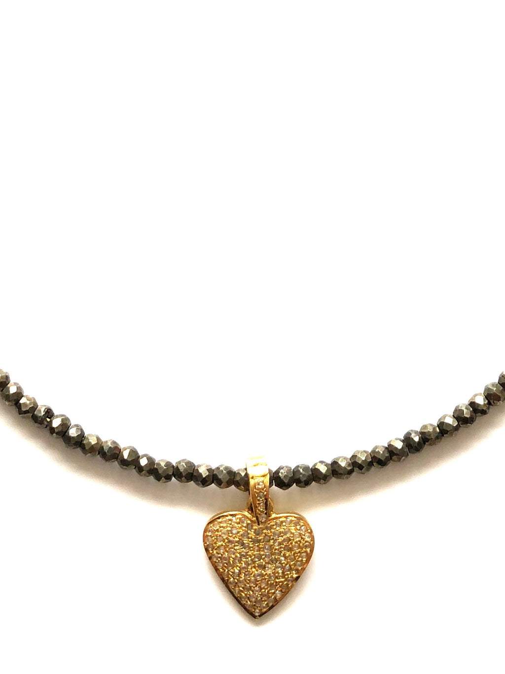 Pyrite and Pave Heart Charm Necklace