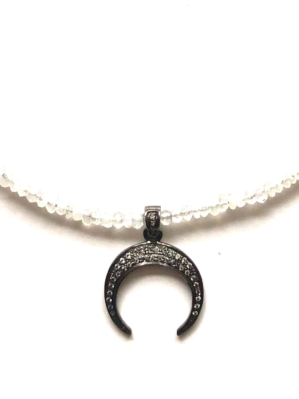 Moonstone and Pave Crescent Moon Necklace
