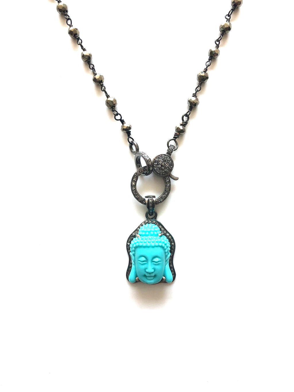 Pave Diamond Buddha Necklace