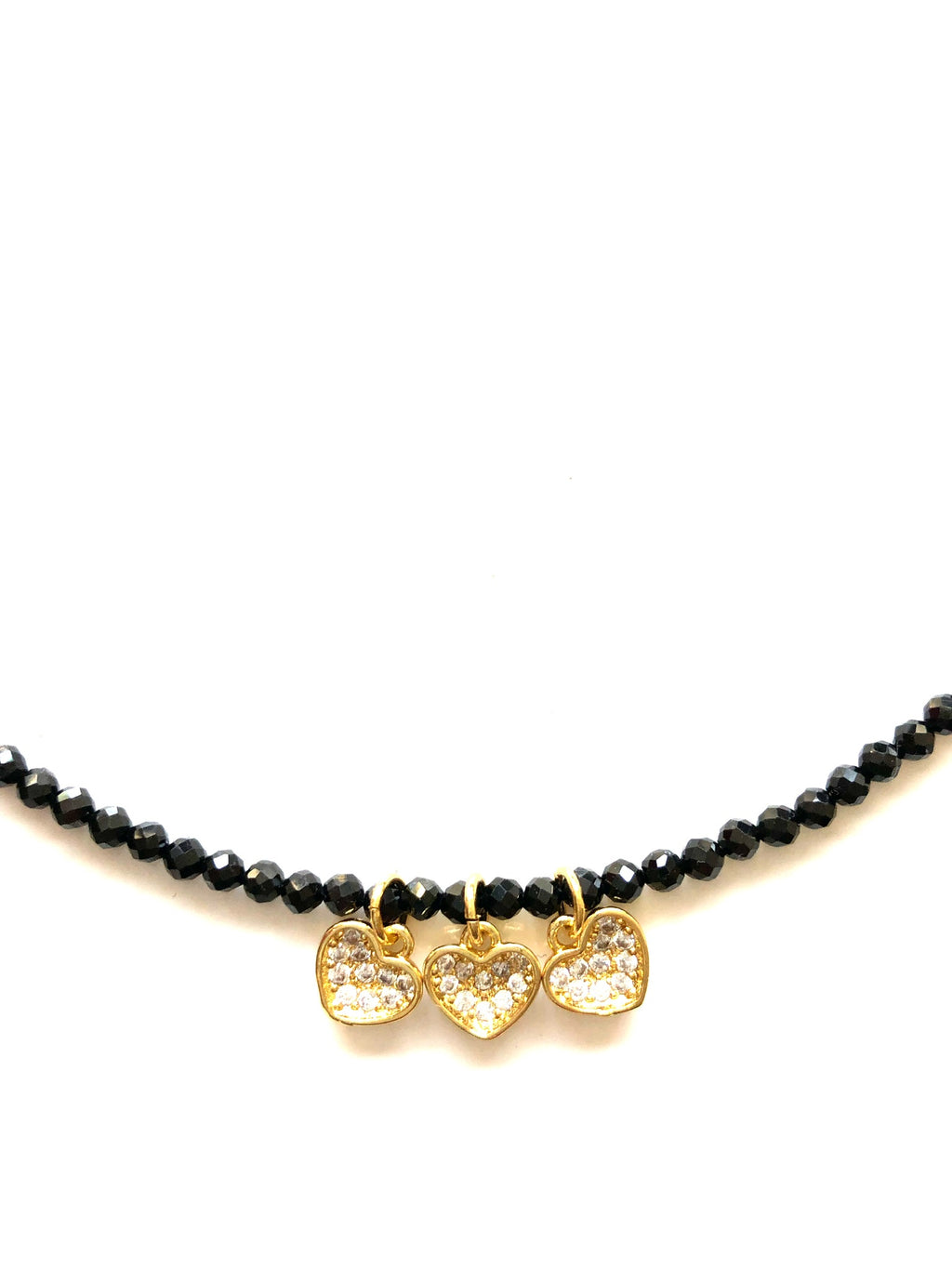 Black Onxy and Gold Heart Charm Necklace