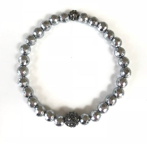 Silver Pyrite Beads and Pave Round Ball Bracelet