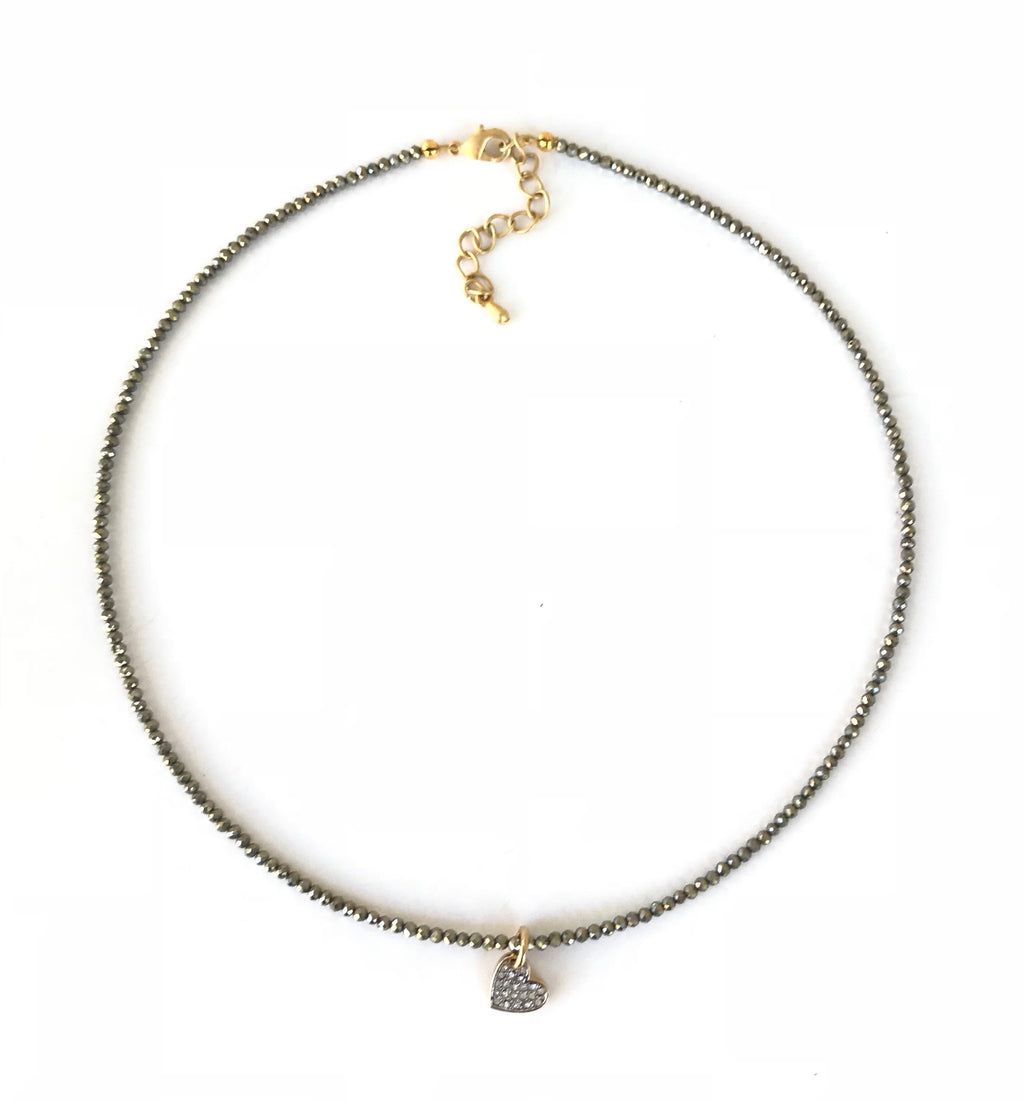 Pyrite and Gold Heart Charm Necklace