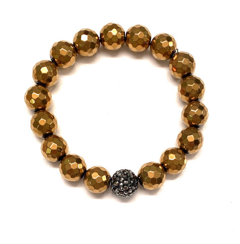 Gold Pyrite and Pave Ball Bracelet