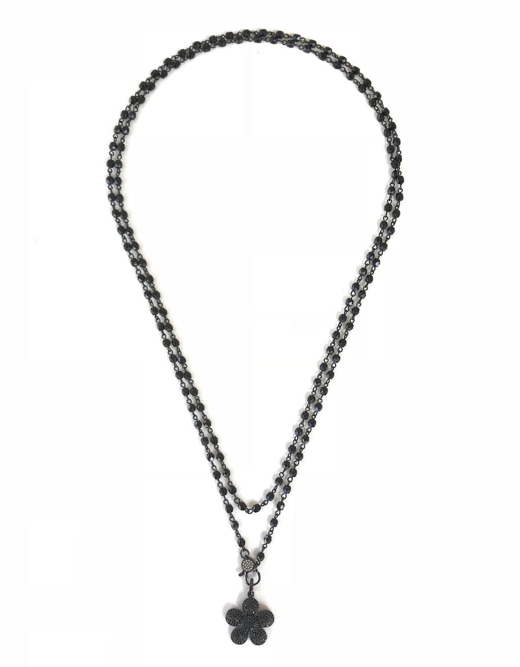 Jet Black Beads and Gunmetal Flower Pendant Necklace
