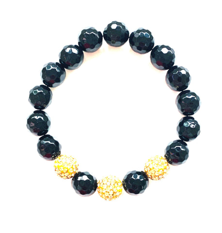 Black Onyx Beads And Pave Gold Ball Bracelet