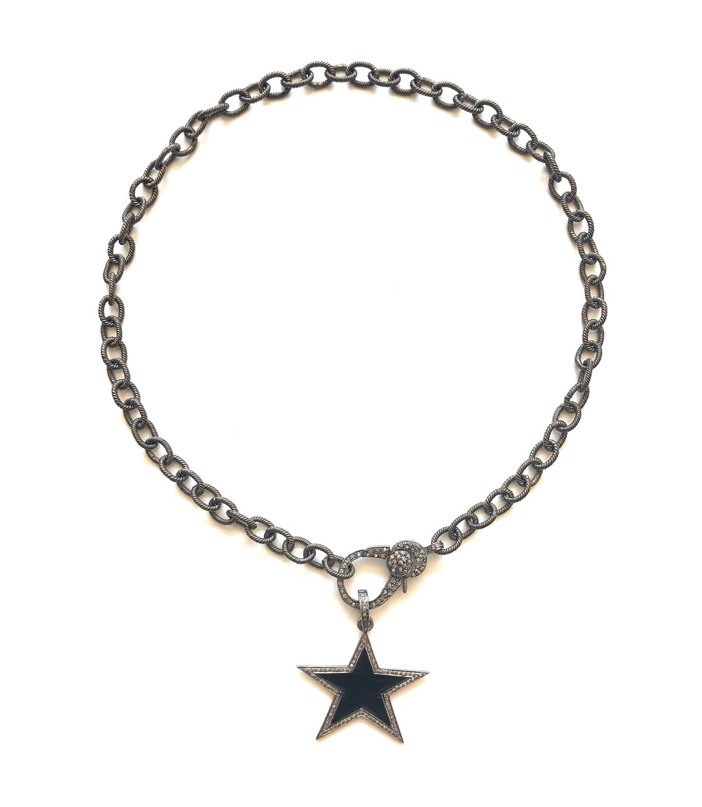 Pave Diamond Black Star Pendant Necklace
