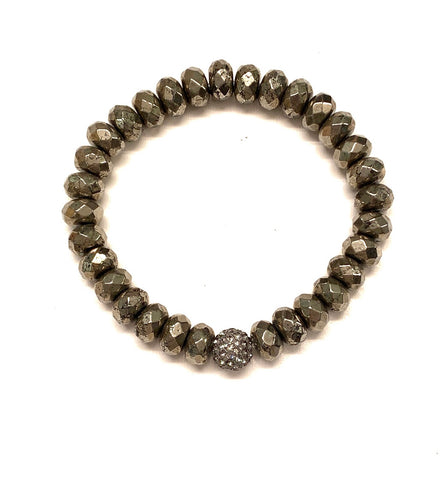 Rondelle Pyrite Beads and Pave Ball Bracelet