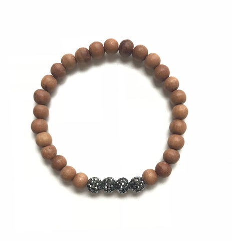 6mm Sandalwood and Four Pave Gunmetal Ball Bracelet
