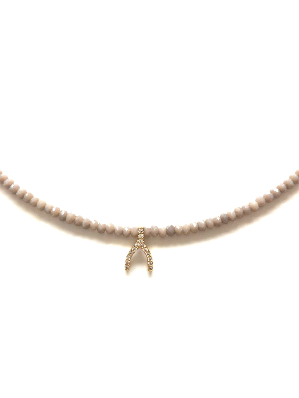 Grey Glass Beads and Pave Wishbone Necklace