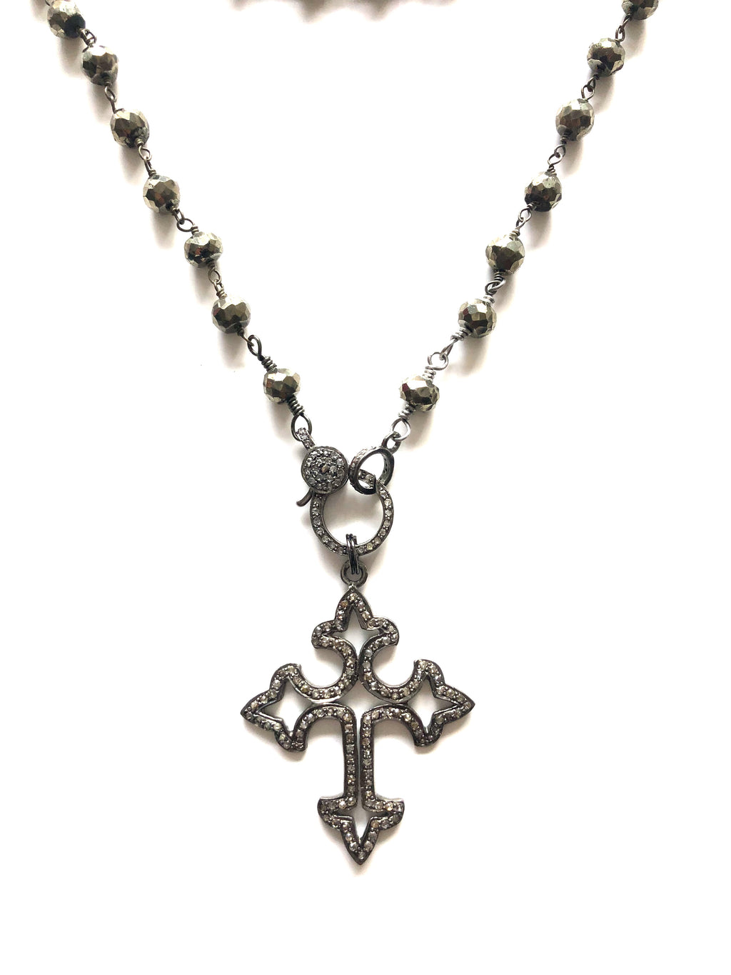 Pave Diamond Cross Pendant and Pyrite Necklace