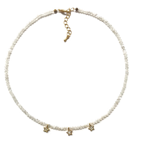 Moonstone and Pave Gold Star Charm Choker
