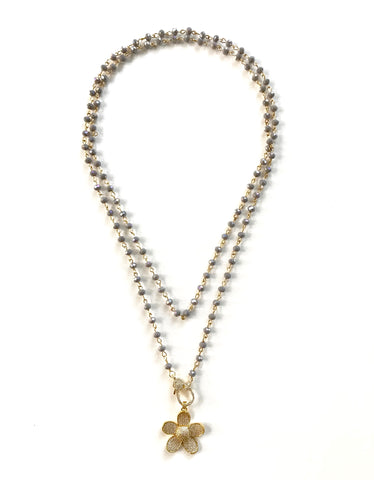 Grey Beads and Gold Pave Flower Pendant Necklace